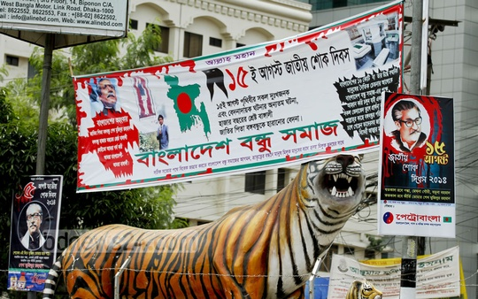 Monuments such as this tiger at Karwan Bazar are prime spots for putting up political messages. Photo: tanvir ahammed/ bdnews24.com