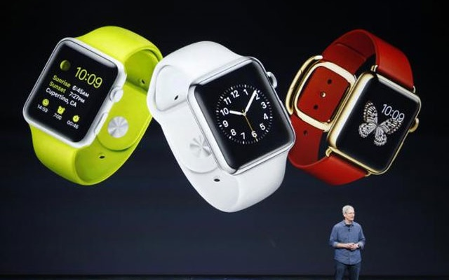 Apple CEO Tim Cook speaks about the Apple Watch during an Apple event at the Flint Center in Cupertino, California, September 9, 2014. Credit: Reuters