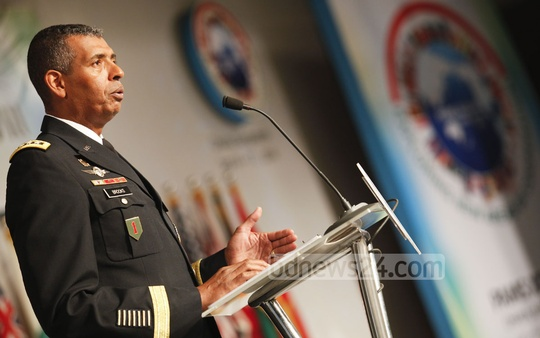 Commanding General of US Army General Vincent K. Brooks speaks at the Pacific Armies Management Seminar-38 on Sunday at Radisson Blu Water Garden hotel in Dhaka. Photo: asaduzzaman pramanik/ bdnews24.com