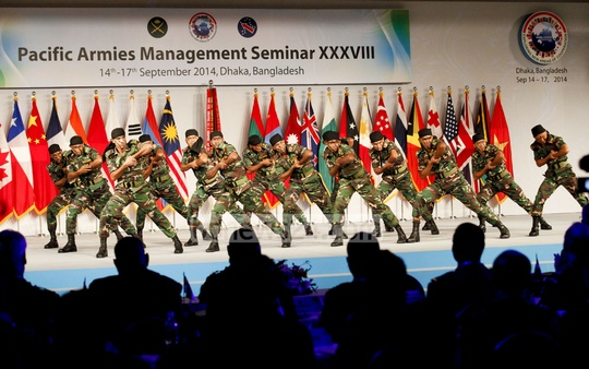 Army officers give demonstrations at the Pacific Armies Management Seminar inauguration programme. Photo: asaduzzaman pramanik/ bdnews24.com