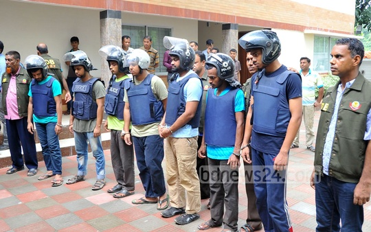 Seven members of banned Islamist outfit Jamaa'tul Mujahideen Bangladesh (JMB), including acting chief Abdullah Al Tasnim alias Nahid, were arrested from Dhaka's Turag neighbourhood on Friday. Photo: bdnews24.com