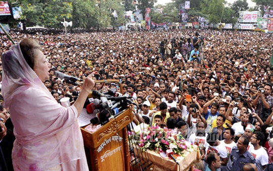 BNP chairperson Khaleda Zia addresses a rally at Brahmanbaria on Tuesday. Photo: bdnews24.com