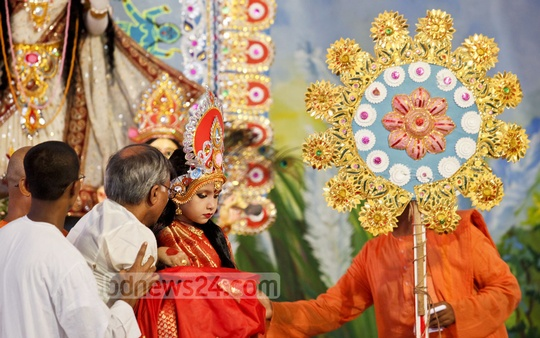 On the occasion of biggest festival of the Hindus, Durga Puja, ritual of Kumari Puja is being observed at Ramakrishna Mission on Asthami. Photo: asaduzzaman pramanik/ bdnews24.com