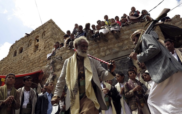 Tribesmen perform the traditional Baraa dance during a celebration marking the Eid-ul-Azha in a rural area of Yemen on Monday. Photo: Reuters