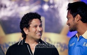 Cricket legend Sachin Tendulkar and Bangladeshi allrounder Shakib Al Hasan attend the logo unveiling of Dhaka Premier Division Cricket League team 'Legends of Rupganj' at Pan Pacific Sonargaon hotel in Dhaka on Tuesday. Photo: asaduzzaman pramanik/ bdnews24.com