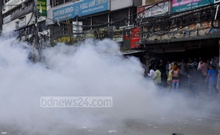 A homemade bomb explodes in front of BNP Naya Paltan headquarters during clash between rival JSD factions.