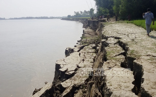The photo taken from Kurigram on Saturday shows Dudhkumar river eroding its banks. Photo: bdnews24.com