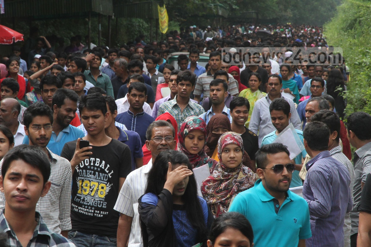 Students at the Chittagong University campus on the first day of the admission test on Monday. Photo: suman babu/ bdnews24.com