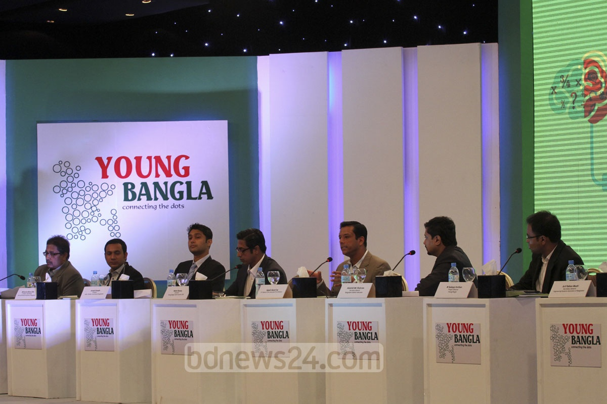 Prime minister's ICT adviser Sajeeb Ahmed Wazed Joy at a views exchange programme with representatives of about 250 youth organisations at the launch of 'Young Bangla' at Dhaka's Radisson Blu Water Garden Hotel on Saturday. Photo: tanvir ahammed/ bdnews24.com