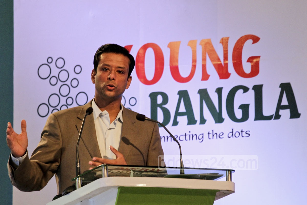 Prime minister's son and her ICT adviser Sajeeb Ahmed Wazed Joy speaks at the opening ceremony of 'Young Bangla' at Radisson hotel on Saturday. Photo: tanvir ahammed/ bdnews24.com