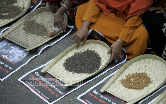 Several organisations ask for activation of SAARC seed bank from a human chain in front of National Press Club on Thursday. Photo: tanvir ahammed/ bdnews24.com