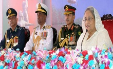 Prime Minister Sheikh Hasina speaks at a programme at Dhaka Cantonment on Friday on the occasion of the Armed Forces Day. Photo:  Saiful Islam Kallol
