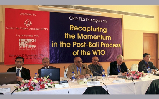 Centre for Policy Dialogue (CPD) organises a discussion on post-Bali WTO process at Dhaka's Lakeshore hotel on Saturday. Photo: bdnews24.com