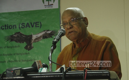 Foreign Minister AMA Muhith speaks at a seminar on conserving endangered vultures at Hotel Sonargaon on Saturday. Photo: bdnews24.com