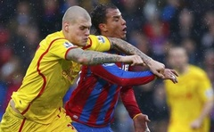Liverpool's Martin Skrtel (L) challenges Crystal Palace's Marouane Chamakh during their English Premier League match at Selhurst Park in London November 23, 2014. Reuters