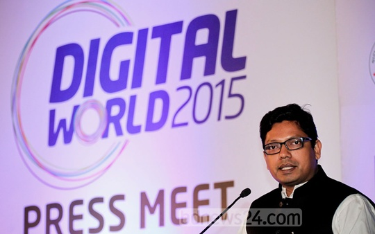 State Minister for Telecommunications and Information Technology Zunaid Ahmed Palak speaks at a press conference on Digital World-2015 at BCC auditorium in Dhaka's Agargaon on Tuesday. Photo: tanvir ahammed/ bdnews24.com