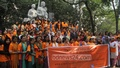 Various organisations hold a rally in front of the Arts Building at Dhaka University on Tuesday to mark the International Day for the Elimination of Violence against Women. Photo: asif mahmud ove/ bdnews24.com