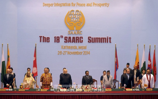 Prime Minister Sheikh Hasina attends the 18th SAARC summit at Kathmandu on Wednesday. Photo: PID