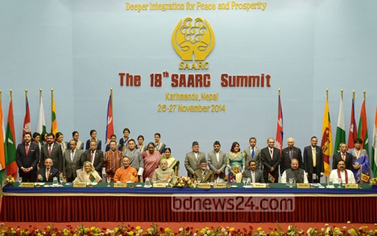 Prime Minister Sheikh Hasina at the closing ceremony of the 18th SAARC summit at Kathmandu on Thursday. Photo: bdnews24.com