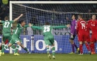 Players of Ludogorets celebrate their second goal against Liverpool during their Champions League match at Vassil Levski stadium in Sofia, November 26, 2014. Reuters