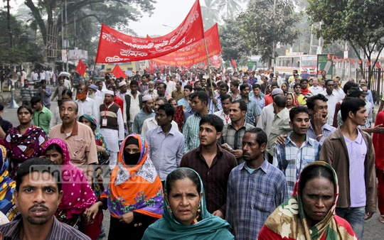 Bangladesh Trade Union takes out a rally on Friday in Dhaka on the occasion of its National Conference. Photo: tanvir ahammed/ bdnews24.com