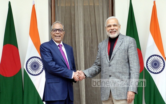 President Abdul Hamid and Indian Prime Minister Narendra Modi at New Delhi's Hyderabad House on Friday. Photo: bdnews24.com