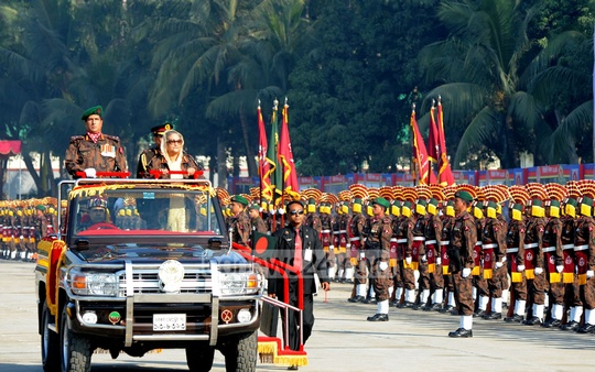Prime Minister Sheikh Hasina accorded Guard of Honour at the celebration to mark 'Border Guard Bangladesh (BGB) Day-2014' at Peelkhana on Saturday. Photo: Saiful Islam Kallol