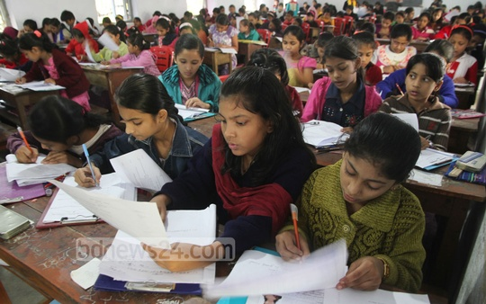 Admission tests commence in various government schools across the country. The photo was taken at the Chittagong's Dr Kastagir Government Girls School. Photo: suman babu/ bdnews24.com