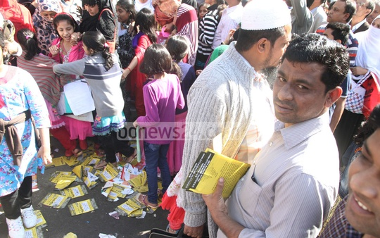 Leaflets of various coaching centres litter areas near schools negating police's drive to keep Chittagong city clean. The photo was taken in front of Dr Kastagir Government Girls School. Photo: suman babu/ bdnews24.com