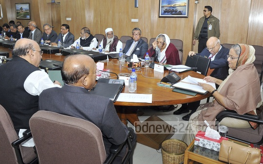 Prime Minister Sheikh Hasina presides over Monday's regular Cabinet meeting. Photo: Saiful Islam Kallol