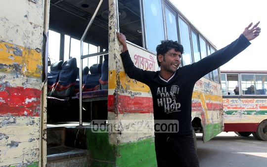 Very few passengers are seen commuting in buses in the capital amid blockade violence. The photo was taken from capital's Gabtoli area. Photo: tanvir ahammed/ bdnews24.com