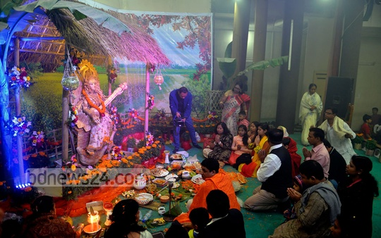 A view of Saraswati puja at the capital's Bar Council. Photo: bdnews24.com