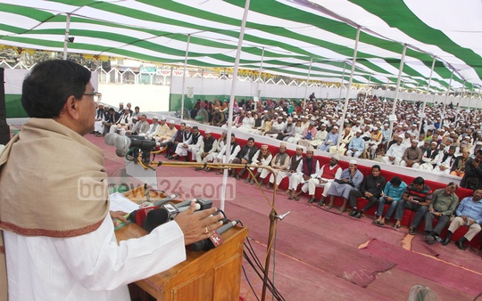 Awami League's Joint General Secretary Mahbub-Ul Alam Hanif speaks at a programme on mosque-based child and mass education project in Chittagong on Monday. Photo: suman babu/ bdnews24.com