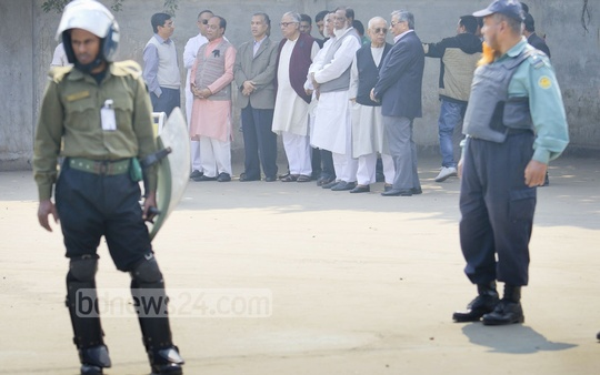 BNP leaders wait at the Hazrat Shahzalal International Airport to receive the body of Arafat Rahman Coco on Tuesday. Photo: asaduzzaman pramanik/ bdnews24.com