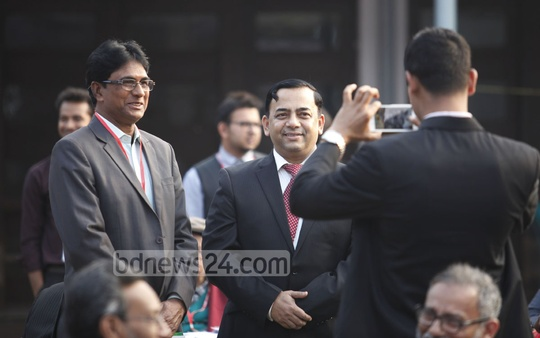 RAB Director General Benazir Ahmed, a former student of Dhaka University's English department, poses for the camera at the alumni reunion at the TSC on Friday. Photo: asaduzzaman pramanik/ bdnews24.com