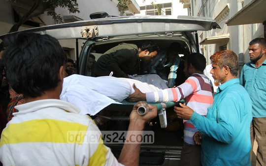 Bodies of 10 people, killed in Saturday's fire at a Mirpur plastic factory, are being handed over to their relatives after identification at the Dhaka Medical College and Hospital on Sunday. Photo: nayan kumar/ bdnews24.com