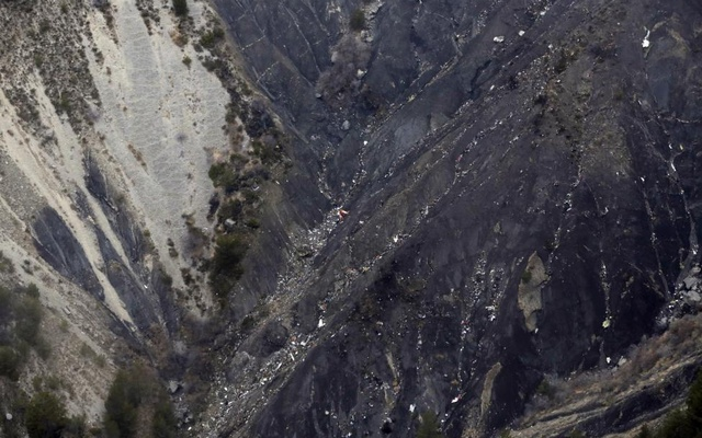 Debris from crashed Germanwings Airbus A320 are seen in the mountains, near Seyne-les-Alpes, France March 24, 2015. Reuters