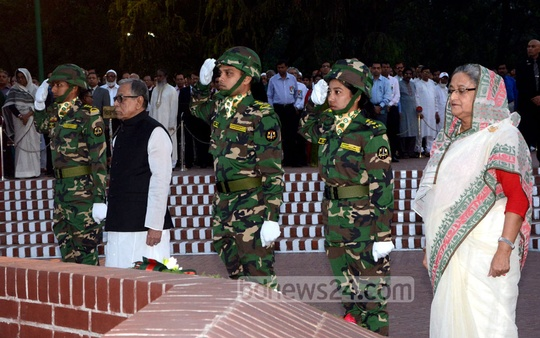 President Md Abdul Hamid and Prime Minister Sheikh Hasina pay respects to the martyrs of Liberation War at the National Memorial at Savar on the occasion of Bangladesh's Independence Day. Photo: Saiful Islam Kallol