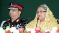 Prime Minister Sheikh Hasina speaks at the raising anniversary of the Rapid Action Battalion (RAB) at its Kurmitola headquarters in Dhaka on Saturday. Photo: PMO
