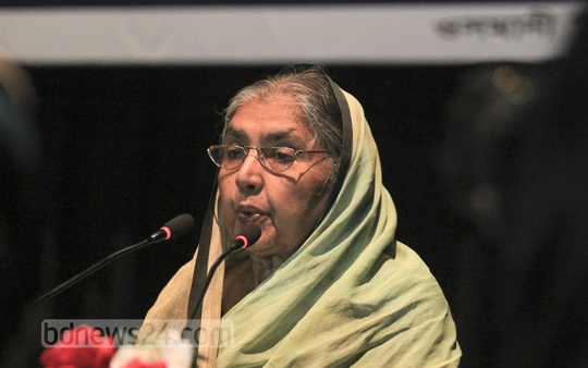Agriculture Minister Matia Chowdhury speaks at a programme of Satata Sangha at the Osmani Memorial Auditorium on Saturday. Photo: asif mahmud ove/ bdnews24.com