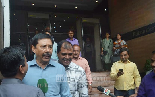 State Minister for CHT Affairs Bir Bahadur Ushwe Sing emerges from a meeting of Chittagong Awami League and its allies before the City Corporation election on Tuesday. Photo: suman babu/ bdnews24.com