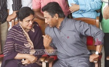 Awami League-endorsed Dhaka North mayor aspirant Annisul Huq and his wife, Rubana, at a rally in a community centre in Mohammadpur in violation of polls code on Monday. Photo: asaduzzaman pramanik/ bdnews24.com