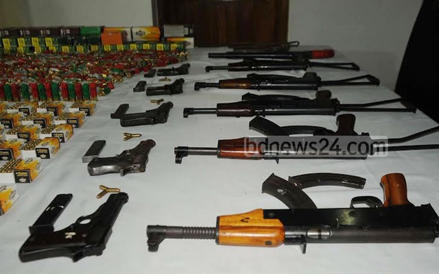 File photo shows firearms seized from operatives of Shaheed Hamza Brigade.