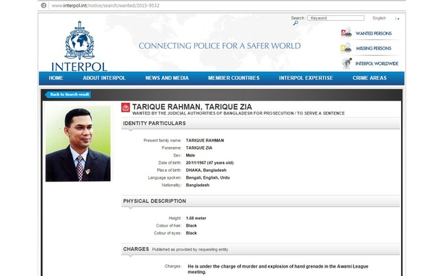 The Interpol Has Issued A Red Corner Notice For Arrest Of BNP Senior Vice Chairman Tarique Rahman Prime Accused In Aug 21 2004 Grenade Attack On