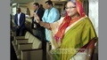 Prime Minister Sheikh Hasina at the Sher-e-Bangla National Cricket Stadium to watch Bangladesh's second ODI against Pakistan on Sunday. Photo: Saiful Islam Kallol