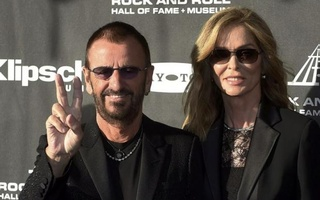 Musician Ringo Starr and his wife Barbara Bach arrive for the 2015 Rock and Roll Hall of Fame Induction Ceremony in Cleveland, Ohio April 18, 2015.