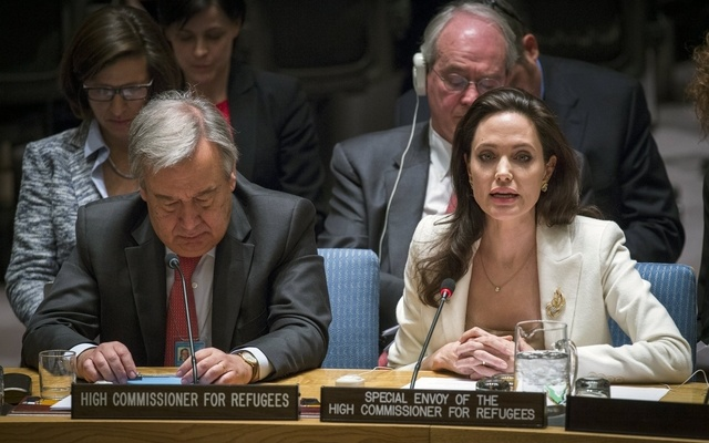 United Nations High Commissioner for Refugees (UNHCR) special envoy, actress Angelina Jolie (R), speaks during a United Nations Security Council meeting regarding the refugee crisis in Syria at theUnited Nations Headquarters in New York April 24, 2015. Reuters