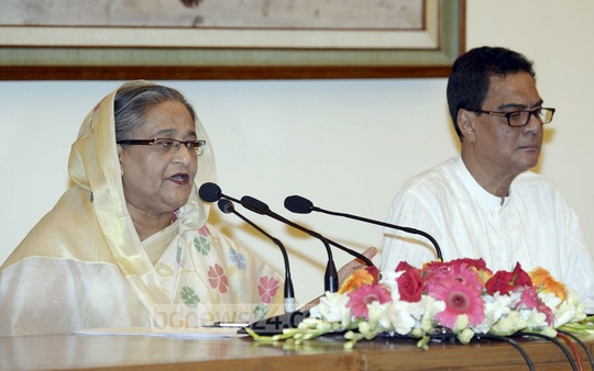 Prime Minister Sheikh Hasina addresses the media at Ganabhaban on Sunday on her recent visit to Indonesia.