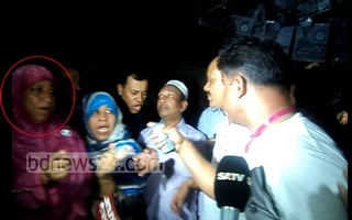 Awami League-backed councillor candidate Zakir Hossain Babul's supporters charge towards Jubaida Khanam, sister of 'renegade aspirant' Afroz Habib.
