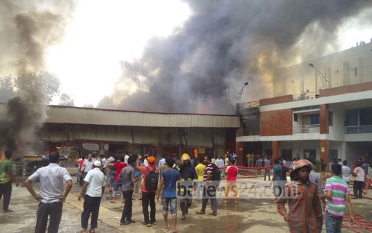 Fire at a bicycle factory in Gazipur on Saturday.
